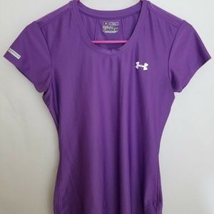 UNDER ARMOUR Womens Small Top Purple Heat Gear Fit